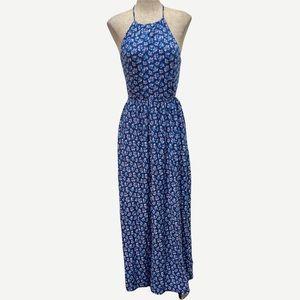 HOLLISTER Blue Floral Backless Maxi Dress M